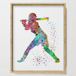 Baseball Softball Player Sports Art Print Watercolor Print Girl's softball Serving Tray