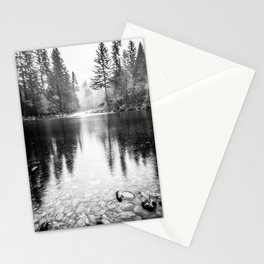 Forest Reflection Lake - Black and White  - Nature Photography Stationery Cards