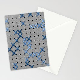 Giant Cross Stitch (Blue) Stationery Cards