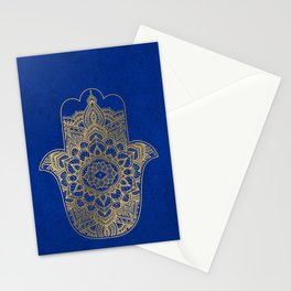 golden hamsa and mandala on classic blue Stationery Cards