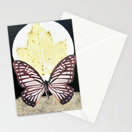 Gold Dust Butterfly Eco Print Moon Stationery Cards