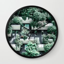 Bosco Verticale, Building Facade, Vertical Forest, Modern Architecture, Residential Towers, Milan Tower, Green Trees, Floral Plants, Italy Building Wall Clock