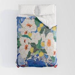 Queen of California - Giant Matilija Poppy Bouquet in Lion Vase on Blue Comforters