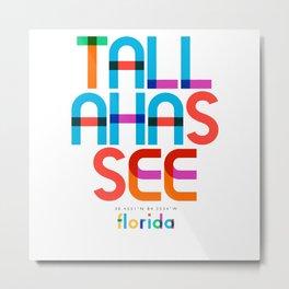 Tallahassee Florida Mid Century, Pop Art, Metal Print