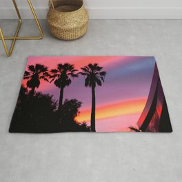 Palm Tree Sunset Silhouette Rug