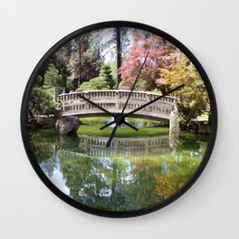 Small Wood Bridge Over Pond In Japanese Garden Wall Clock