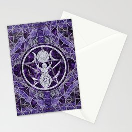 Triple Moon - Goddess -Amethyst and Silver Stationery Cards