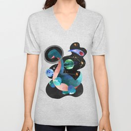 Dinosaur Astronauts In Space Watercolor Pattern Unisex V-Neck