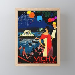 Gorgeous 1926 Vichy French comite des fetes Vintage Lithograph Advertising Wall Art Style 2. Framed Mini Art Print