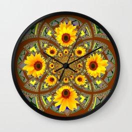 OPTICAL ART BROWN-GREY SUNFLOWERS Wall Clock