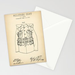 Military coat vintage patent print Stationery Cards