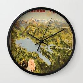 Boden See und Rhein Vintage Travel Poster Wall Clock