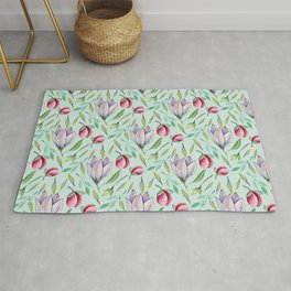 Pink green watercolor hand painted floral pattern Rug