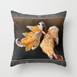 Winter Maple Leaves Throw Pillow