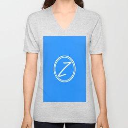 Monogram - Letter Z on Dodger Blue Background Unisex V-Neck