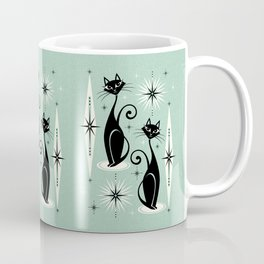 Mid Century Meow Retro Atomic Cats Mint Coffee Mug
