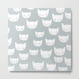 Kitty Gray Blue happy print design pattern Metal Print