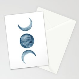 Blue Moon Phases Watercolor Stationery Cards