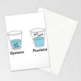 Glass Half Full Or Half Empty Optimist Pessimist Stationery Cards