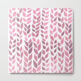 Simple Watercolor Leaves - Light Pink Metal Print