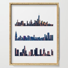 Chicago, New York, And Los Angeles City Skylines Serving Tray