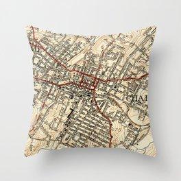 Vintage Map of Charlottesville Virginia (1949) Throw Pillow