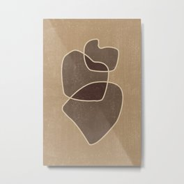 Abstract Composition In Brown And Tan - Modern, Minimal, Contemporary Print - Earthy Abstract 3 Metal Print