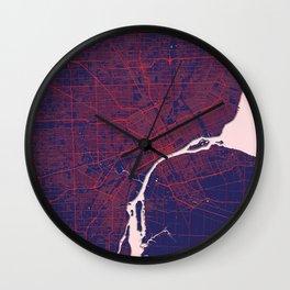 Detroit, MI, USA, Blue, White, City, Map Wall Clock
