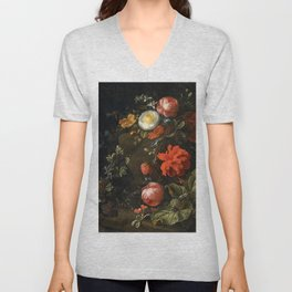 Elias van den Broeck - Floral Still Life with Insects Unisex V-Neck