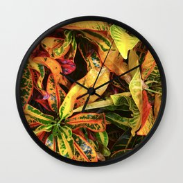 Vibrant Colorful Leaves In Exotic Close-Up Wall Clock