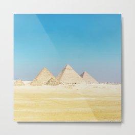Pyramids Beneath Blue Skies Metal Print