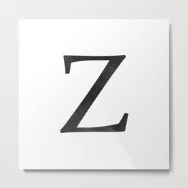 Letter Z Initial Monogram Black and White Metal Print