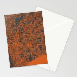 Los Angeles Map orange Stationery Cards