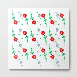 Doodle: flowers pattern Metal Print