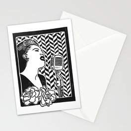 Lady Day (Billie Holiday block print blk) Stationery Cards
