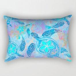 Vintage Samoan Tapa Turtle Rectangular Pillow