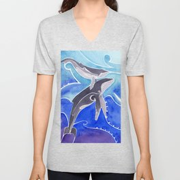 Polynesian humpback whale and calf Unisex V-Neck