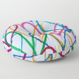 Multicoloured Love Hearts Graffiti Repeat Pattern Floor Pillow