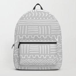 Mud Cloth on Light Gray Backpack