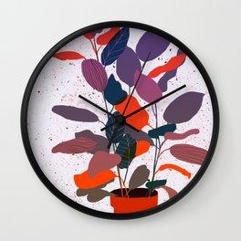Fig House Plant - Aubergine Wall Clock