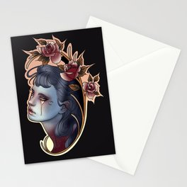 Red Roses │Crying Celestial Cameo Lady │ Neo traditional Stationery Cards