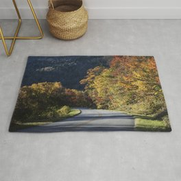 Bend in the roadway along the southern reaches of the Blue Ridge Parkway near Linville North Carolin Rug
