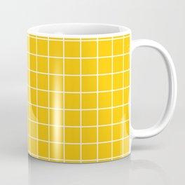 Mikado yellow - yellow color -  White Lines Grid Pattern Coffee Mug