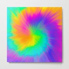 Rainbow Neon Tie Dye Metal Print