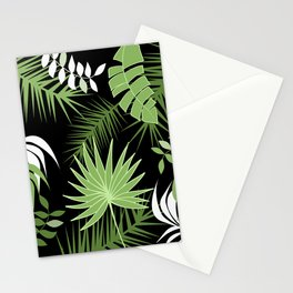 Black and White Green palm tree banana leaves summer tropical leaf print  Stationery Cards