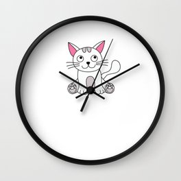 Cat Catlovers love pet paws cation nerd geek periodic system Wall Clock