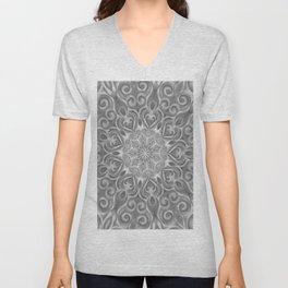 Gray Center Swirl Mandala Unisex V-Neck