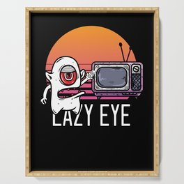 Lazy Eye Watching Television TV Movie Show Gift Serving Tray