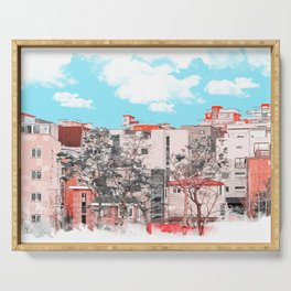 A water painting style photo of peaceful city view  Serving Tray