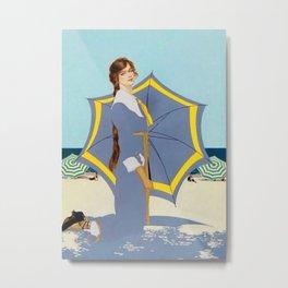 "C Coles Phillips ""Beach Umbrella"" Fadeaway Girl Metal Print"
